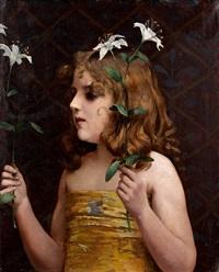 fillette aux fleurs by carl nys