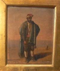 pêcheur cadre en bois doré by alfred andré géniole