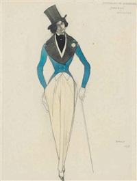 costume design for 'carnaval': léonide massine as eusebius by leon bakst