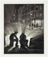 arc welders at night by martin lewis