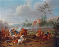 gefechtsszenen aus den türkenkriegen (2 works) by jan-peter van bredael the younger