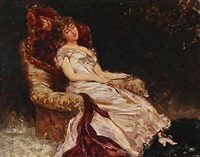 a young woman sitting in a armchair by georges jules victor clarin