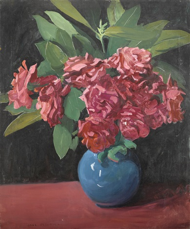 pink roses in a blue vase by jane peterson