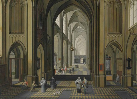 interior of a gothic church by peeter neeffs the elder