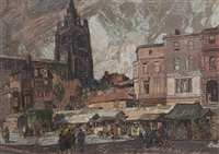 sun and storm, norwich market place by leonard russel squirrell