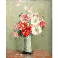 still life with a vase of carnations by anna s. fisher