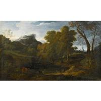 extensive landscape with shepherd and flock by frederick de moucheron