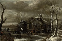 a winter landscape with figures chopping wood and sleighing on a frozen river near an inn by salomon rombouts