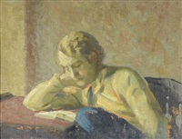 young man reading by mischa askenazy