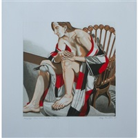 hunzinger chair with wooden swan by philip pearlstein