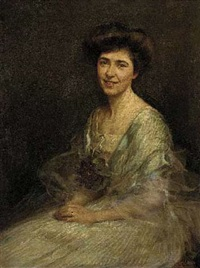 portrait of hester wade in a pale blue dress with flowers at her corsage by maud hall (rutherford) neale