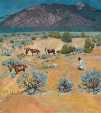 taos landscape with indians by walter ufer
