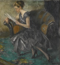 mädchen in einem interieur (girl in an interior) by edward cucuel