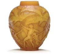 archers' a cased opalescent and butterscotch yellow glass vase, model introduced 1921 by rené lalique