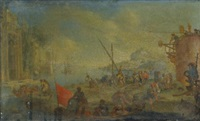 a coastal scene with figures disembarking from a ship; a coastal scene with figures loading boats (pair) by cornelis de wael