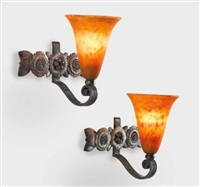 sconces (pair) by daum and edgar brandt
