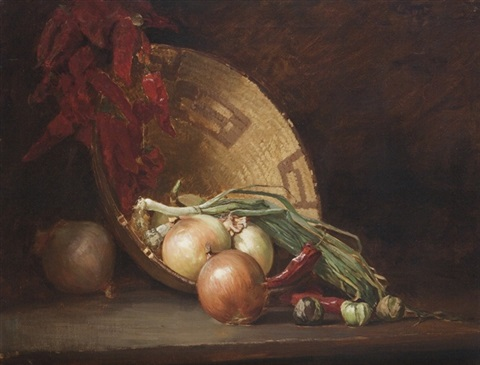 still life with onions peppers and basket by guy rose