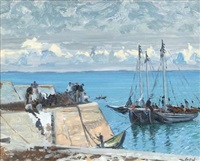 unloading the turf boats, kilmurvey pier, inis mhór, aran islands by maurice macgonigal