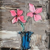 pink flowers & blue vase by colin flack