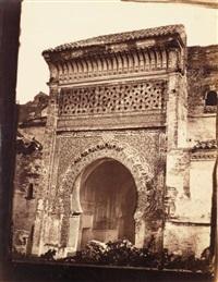 tlemcen: mosquée sidi boumediene; grande mosquée de tlemcen; koubla du marabout, algérie (set of 7) by joseph pedra