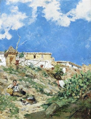 a landscape with figure in sagunto valencia by joaquin sorolla y bastida