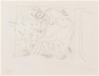 taureau et cheval (from le chef d'oevure inconnu) by pablo picasso