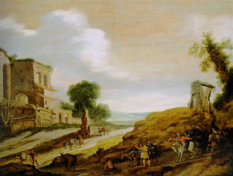 the centurion with josephs brothers on the road from egypt by lambert jacobsz