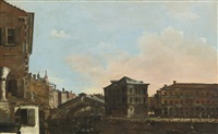 venice, a view of the rialto bridge with the palazzo dei camerlenghi by francesco guardi