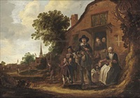 a music merchant surrounded by a group of villagers in front of a farm house by jacob van spreeuwen