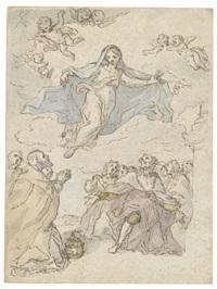 madonna in der glorie vor einem betenden papst, einem knienden monarchen und einer menschenmenge by sebastiano conca