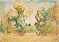 two figures in a landscape by nachum gutman