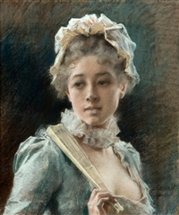 a young woman with a fan by albert edelfelt