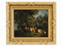 landscape with animals by henriette ronner-knip