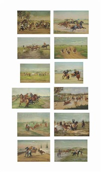 charro paintings (12 works) by ernesto icaza