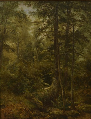 woodland scene by alexandre calame