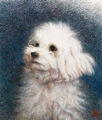 white little dog (embroidered by by sima jianming, with the direction of guan peiying) by ren huixian