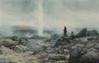 geyser erupting with maori figures by william joseph wadham