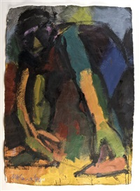 crouching figure by michael kane