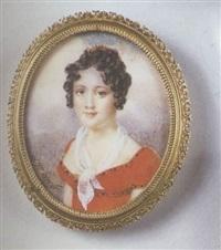 portrait de jeune femme en robe rouge, écharpe de gaze blanche et peigne de corail dans sa chevelure bouclée. fond de ciel nuageux. by henri-joseph hesse
