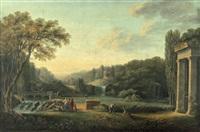 paysage aux ruines antiques avec cascade by claude louis châtelet