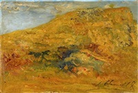 untitled (landscape) (+ another, oil on card; 2 works) by joaquín clausell