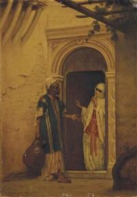 le porteur d'eau à l'entrée du harem by gustave clarence rodolphe boulanger
