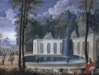 elegant company by a fountain by jean cotelle the younger