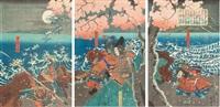musha-e; scena walki pod kwitnącym drzewem wiśni (triptych) by utagawa yoshitora