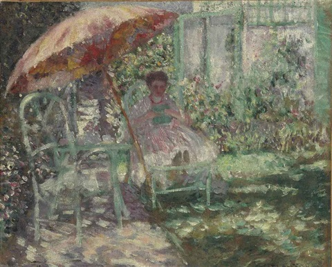 study for the garden parasol by frederick carl frieseke