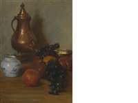 still life with fruit & copper pot by william merritt chase
