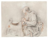 an old man saying grace over his simple meal by jacques-andré portail