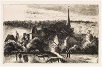 église et ferme d'éragny by camille pissarro