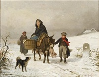 donkey ride in the snow by louis simon cabaillot lassalle