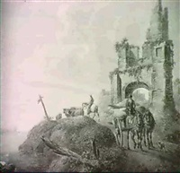 a wagonner on a riverside track, a ruin beyond; and     herdsmen watering cattle by a ruined tower by a. tyssens